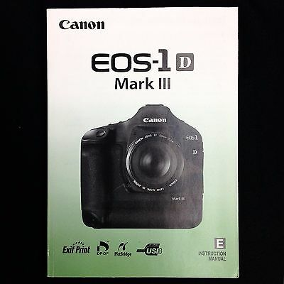 Canon EOS 1D Mark III Digital Camera Instruction Manual / Book, English #39120