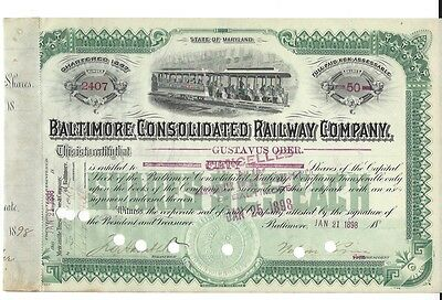 Baltimore Consolidated Railway Company.....1898 Stock Certificate