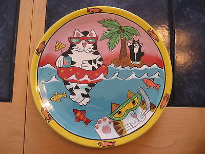 "Catzilla 8"" Ceramic Plate By Candace Reiter With Cats On The Beach 2003 Design"