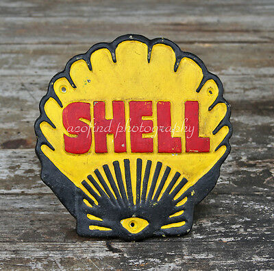 Vintage Solid Cast Iron Shell Gasoline Gas & Oil Service Station Plaque Sign