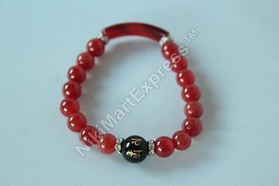 Tibetan Round Mantra Obsidian Bead Red Agate Beads Bracelet Feng Shui Protection