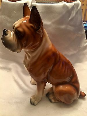 "PORCELAIN BOXER DOG FIGURINE/Sitting 10"" Tall/Brown, Cream & Gray"