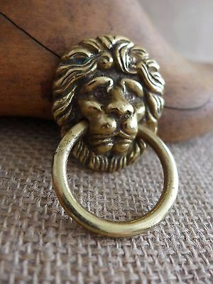 Solid Brass Small Lion Head Pull Ring Handle Knob Project Door Drawer