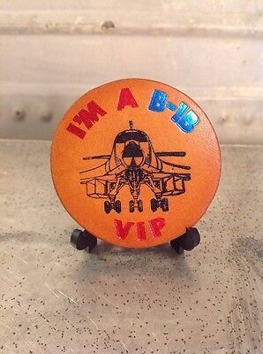 Vintage Button Pinback Leather Rockwell International Aerospace B-1B Bomber