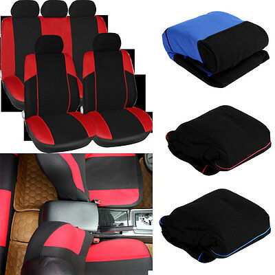 11 pcs Full Seat Cover Set Car Seat Cover Low Front Back Set Black + Red Edge ZX