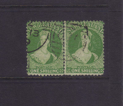 New Zealand Sg 125;1/- Yellow-Green Chalon Wmk Star VFU Pair,cv £250++