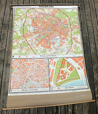 Pull Down Map MOSCOW RUSSIA Westermann Denoyer Geppert Times Mirror USSR School