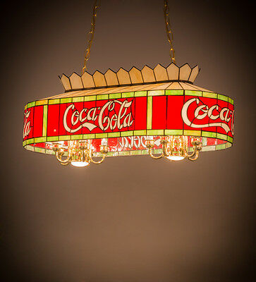 """Coca Cola Stain Glass Billiards Light Coke Stained Glass Ceiling Pendant 32"""""""