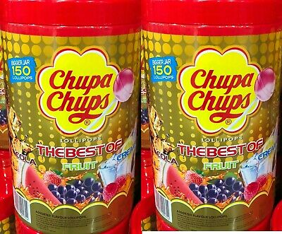 200 CHUPA CHUPS  Best Lollipops Assorted Flavour Bulk Lollies Jar 3 New Flavours