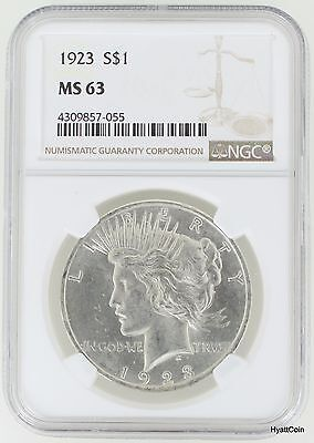 1923 Peace Silver Dollar $1 NGC MS63