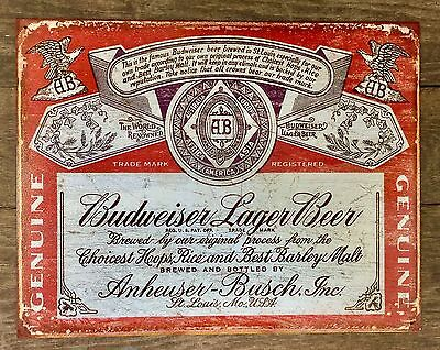 Budweiser Lager Beer Vintage Tin Metal Sign