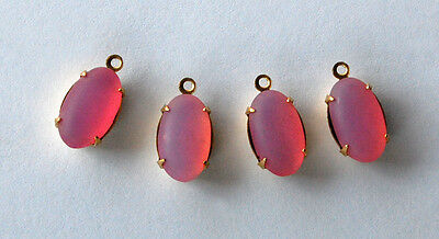 VINTAGE GLASS OVAL PENDANT BEADS FROSTED PINK • 12x8mm