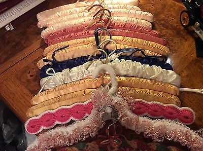 VTG Mixed Lot of 15 PADDED Satin,Knit Covered Clothes HANGERS  *EUC