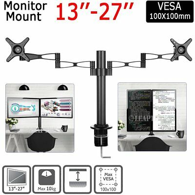 "Up to 27"" 10kg Dual 2 LCD Desktop Stand Pole Computer Monitor VESA Mount Bracket"