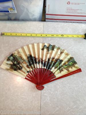 """Spectacular Red Lacquer Vintage Chinese China Hand Fan Large 8-3/4"""" x 15"""""""