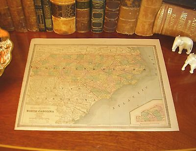 Original 1883 Antique Map NORTH CAROLINA Greensboro Charlotte Durham Winston NC