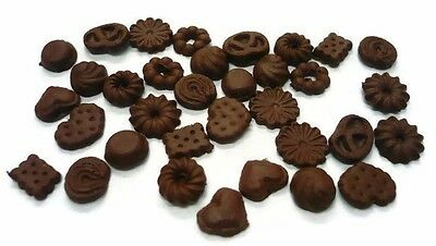 30 Loose Miniature Chocolate Biscuits Dollhouse Miniatures Food Bakery Deco