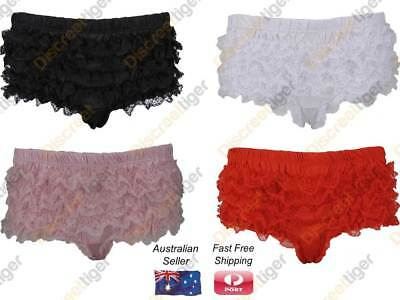 Gorgeous Satin Burlesque Knickers Underwear Panties Ruffled Lace Front & Back