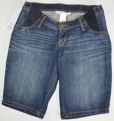 NWT LIZ LANGE Maternity Blue Jean Denim Side Panel Stretch BERMUDA SHORTS sz XS