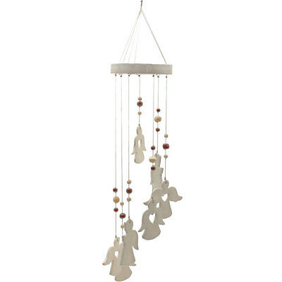Hand Crafted Ceramic Angel Windchime 45cm Ethically Sourced Wind Chime