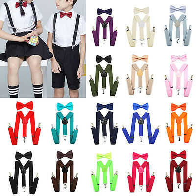 19 Colors Baby Kids Suspender and Bow Tie Matching Set Tuxedo Wedding Suit Party