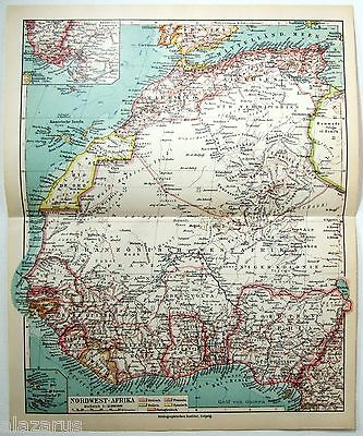 Original 1924 German Map of Northwest Africa by Meyers