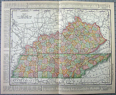 Original 1902 Map of Kentucky & Tennessee by Rand McNally