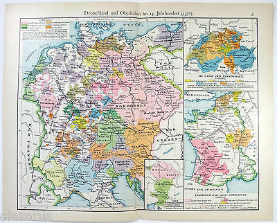 1901 German Language Map of Germany & Northern Italy in the 14th Century by V&K