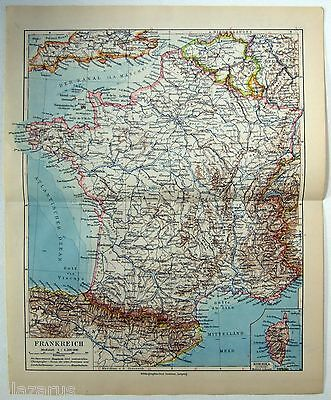 Original 1924 German Map of France