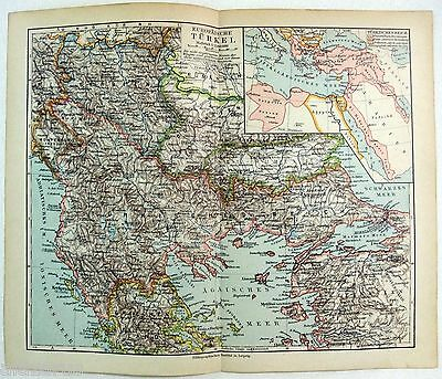 Original 1900 German Map of European Turkey