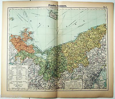 Original 1912 German Map of Pomerania Province, Germany by Otto Herkt