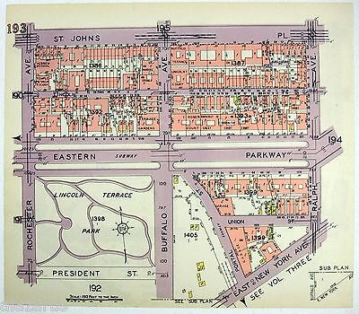 Original 1929 Map of Parts of SE Crown Heights Brooklyn