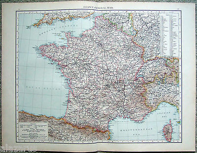 Large Original 1896 Map of  France by Velhagen & Klasing