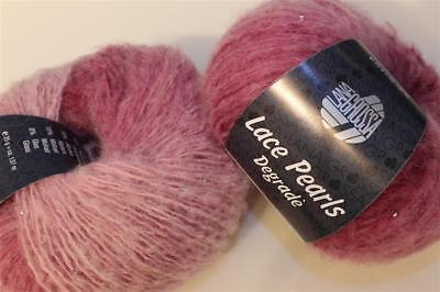Wolle Kreativ! Lana Grossa - Lace Pearls degrade - 109 rose/erika/magnolie 25 g