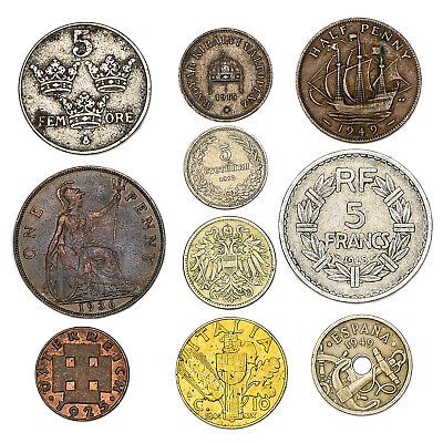 Lot Of 10 Old European Coins Until >1950 Collectible Currency From 19-20 Century