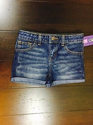 Cherokee Girl's Rolled Cuff Shorts, Size 6 With Adjustable Waist, NWT