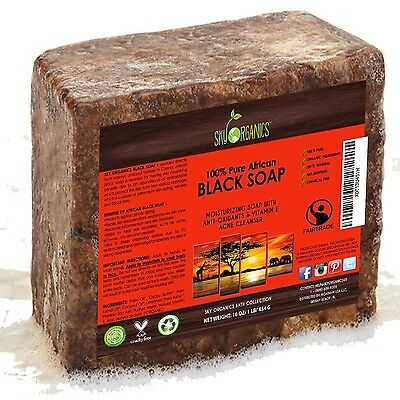 Organic African Black Soap (454g block) - Raw Organic Soap Ideal for Acne Ecz...