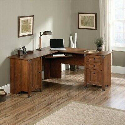 Sauder Carson Forge L Shaped Computer Desk In Washington Cherry