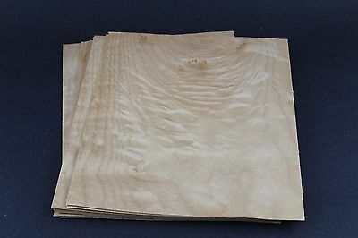 """Bird eye Quilted maple molted wood veneer 8 3/4"""" x 7 1/2"""" x 1/42'' 6 SHEETS"""
