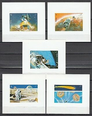 / Sharjah, Michel cat. 982-986 C. Apollo 16 on 5 Deluxe s/sheets.