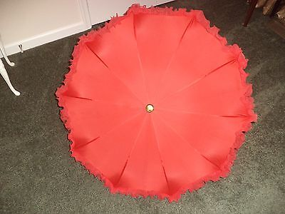 Vintage Parasol Steampunk / Victorian, Red With Beautiful Fringe.