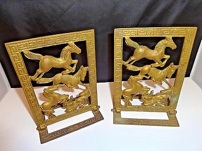 Vintage Brass Horse Bookends Hinged