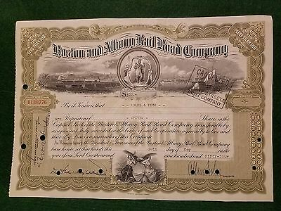 Boston and Albany Railroad Company Stock Certificate $100 Shares 1954