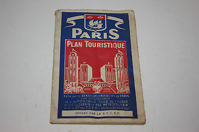 Vintage Paris Map Plan Touristique Antique Color 1930's France 1937