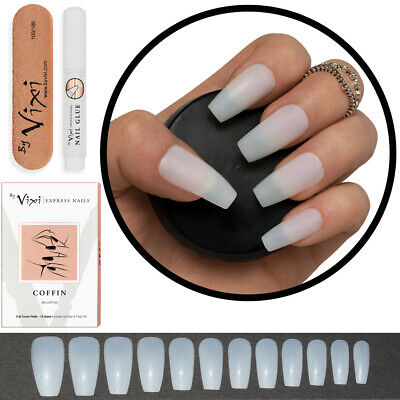 60-600x STICK ON - COFFIN False Nails FULL COVER Natural Opaque - FREE GLUE .