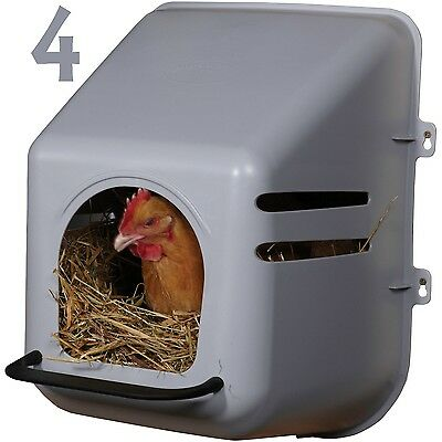 4 Pack Large Wall Mount Nesting Nest Box & Perch Chicken Coop Hen House Poultry