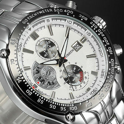 Curren Fashion Men's Date Stainless Steel Quartz Army Military Sport Wrist Watch