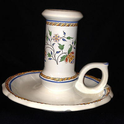 """Gien France Au Sainfoin Candlestick Holder 4"""" Yellow Rope Flowers"""