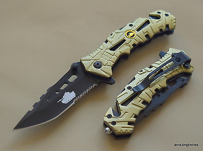 """8 Inch Razor Tactical """"army"""" Rescue Spring Assisted Knife With Pocket Clip"""