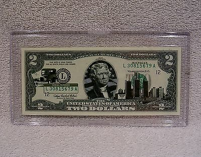 Michigan  $2 Two Dollar Bill - Colorized State Landmark - Uncirculated Authentic